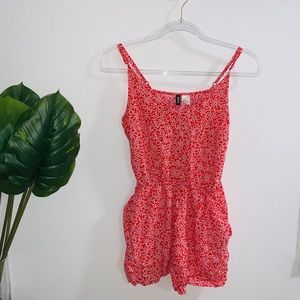H&M Red & White Floral Romper